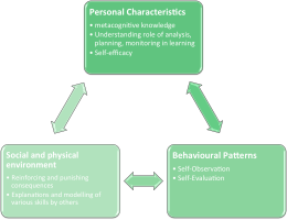graphic of a model personal characteristics, social and physical environment and Behavioural patterns