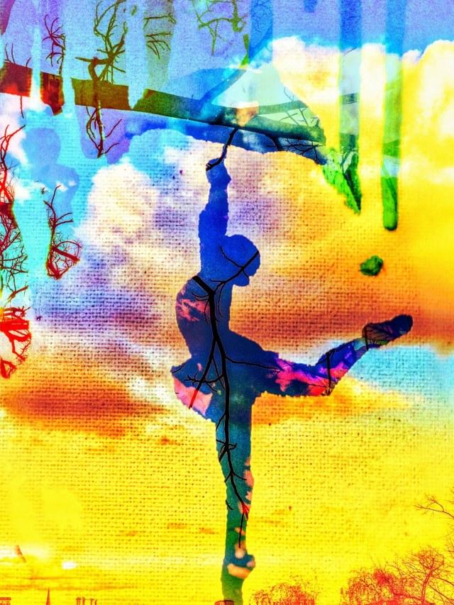 Mixed media art ballerina in bright yellows and blues
