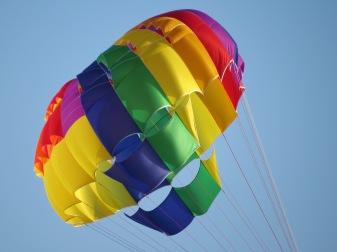 Rainbow coloured parachute