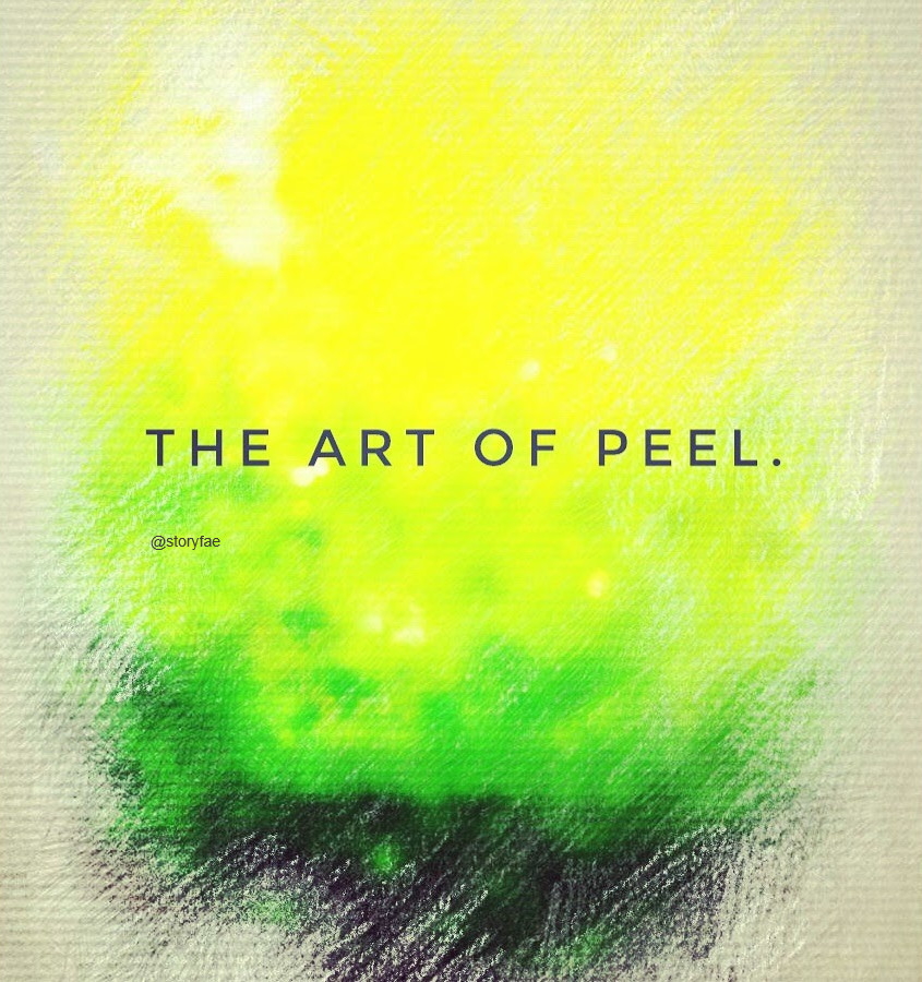 similar to felttip manipulation this image picks up the colours of an unripe lemon made to look like chalk painting the writing says: the art of peel