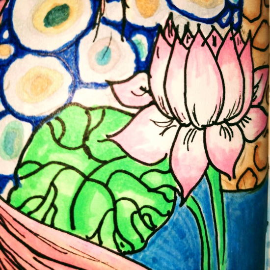 close up of drawing of a white and pink lotus blossom