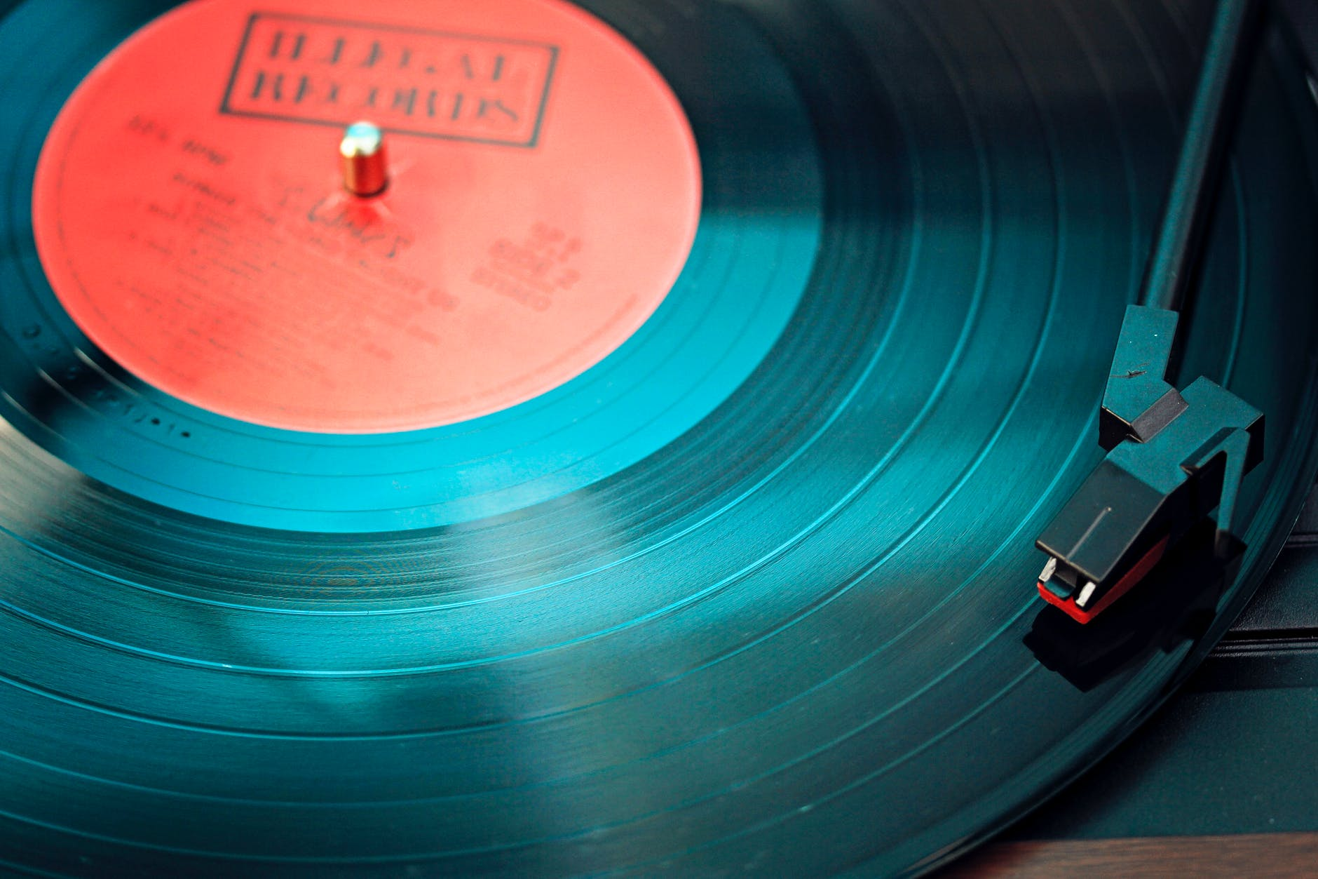 close up of an LP on a record player