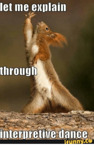 Photo of a squirrel in a very funny dramatic looking pose. The superimposed script says: Let me explain through interpretive dance