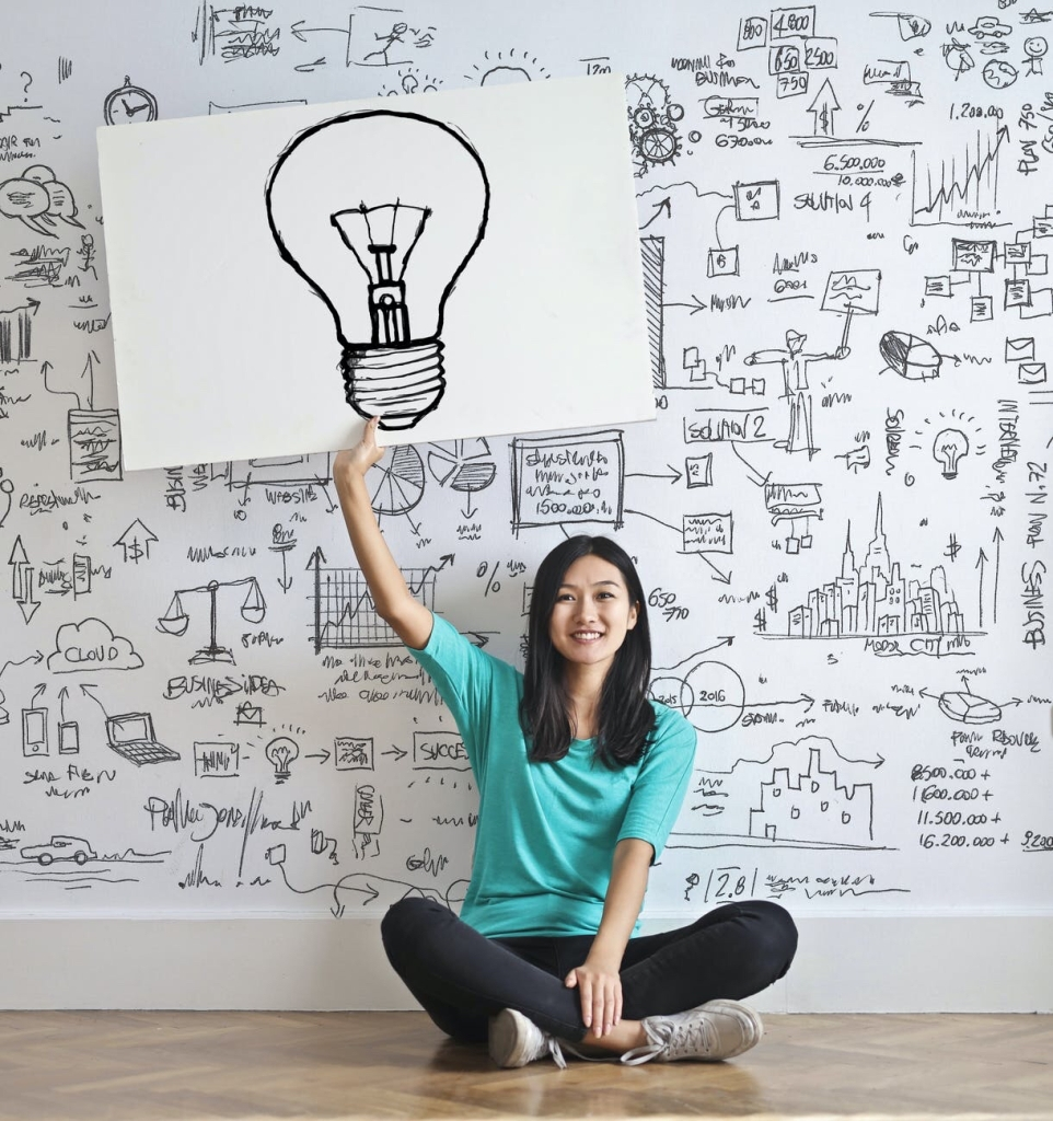 Photo of a person holding up a white cardboard with a lightbulb sketch. Person sits cross legged on a wooden floor in front of a whiteboard wall full of black ink doodles. 