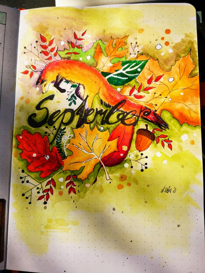 September title page for journal a watercolour of a fox jumping into autum leaves